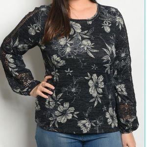 Floral Print Crochet Sleeve Blouse